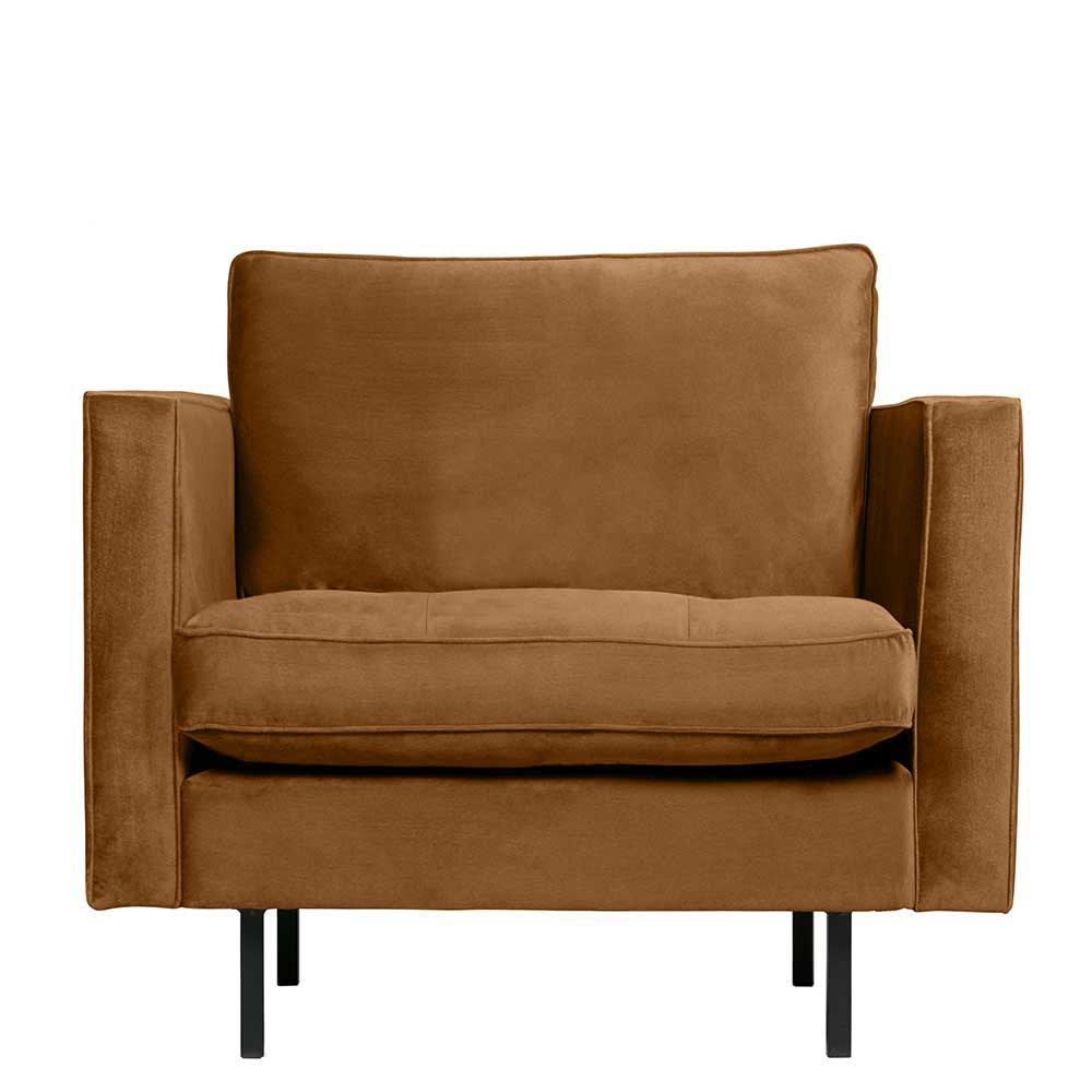 Samt Sessel in Honigfarben Retrostil