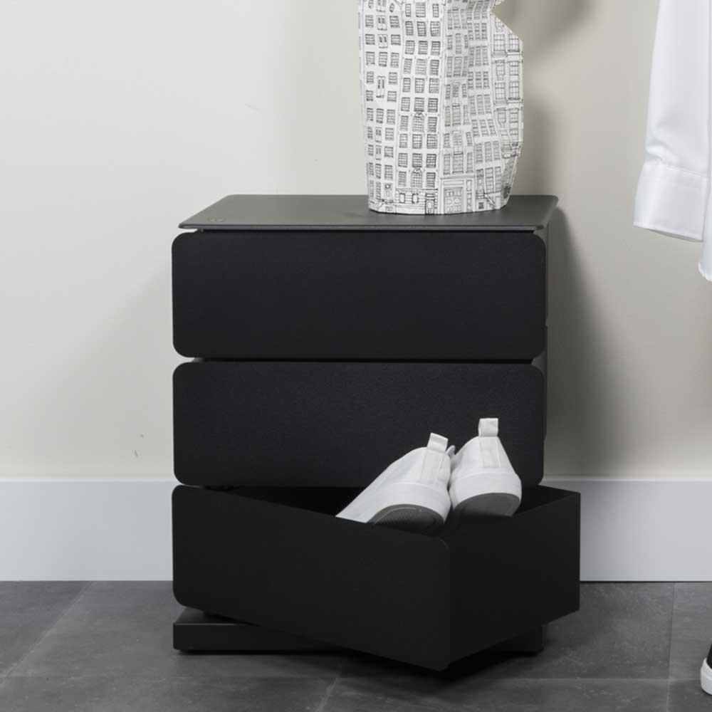 Schwarze Schuhkommode aus Stahl schwenkbaren Schubladen