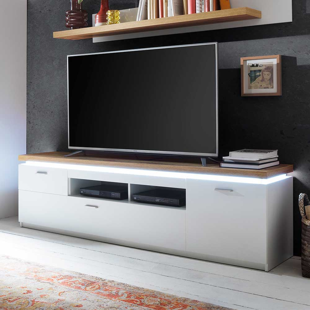 TV Lowboard in Weiß und Wildeiche Optik LED Beleuchtung