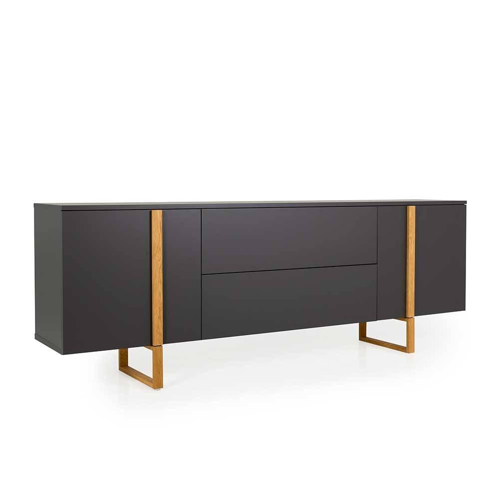 Sideboard in Anthrazit und Eiche Skandi Design