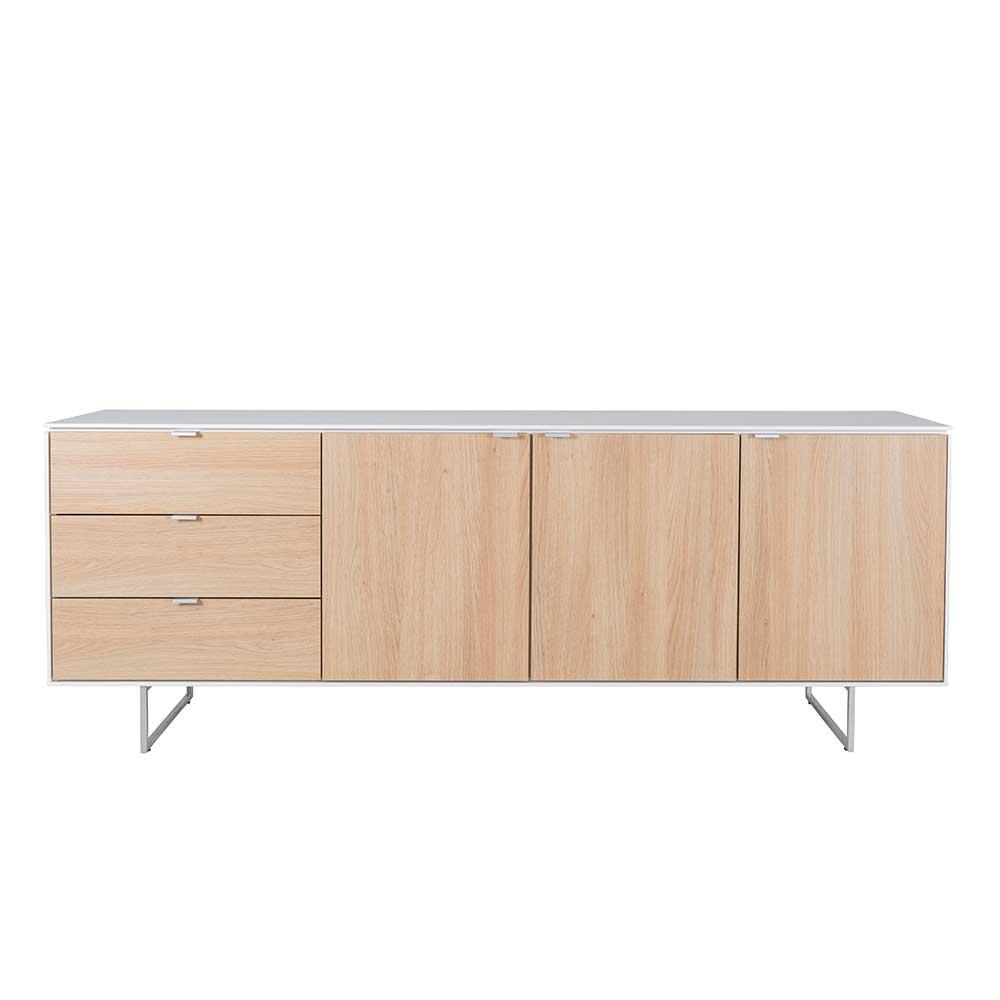 Kommode in Weiß und Eichefarben Skandi Design