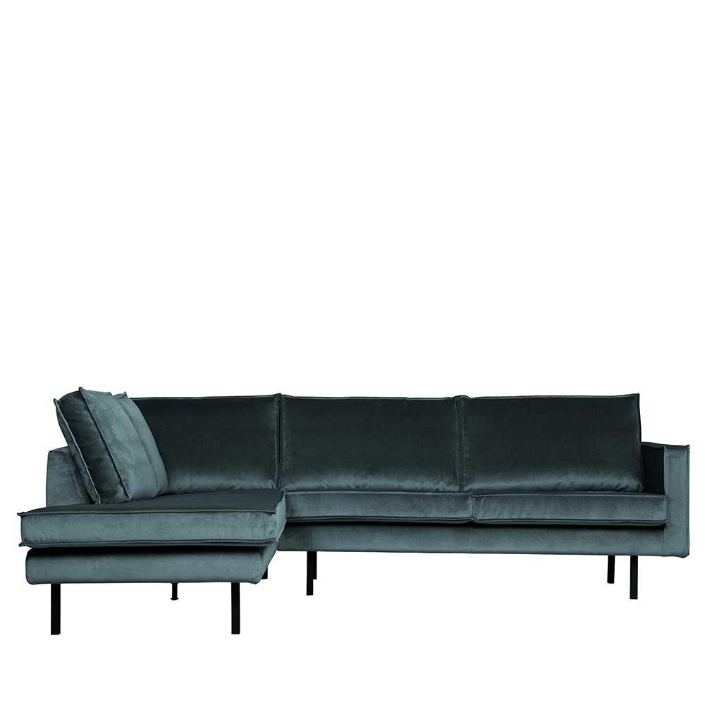 L Sofa in Petrol Samt Retrostil