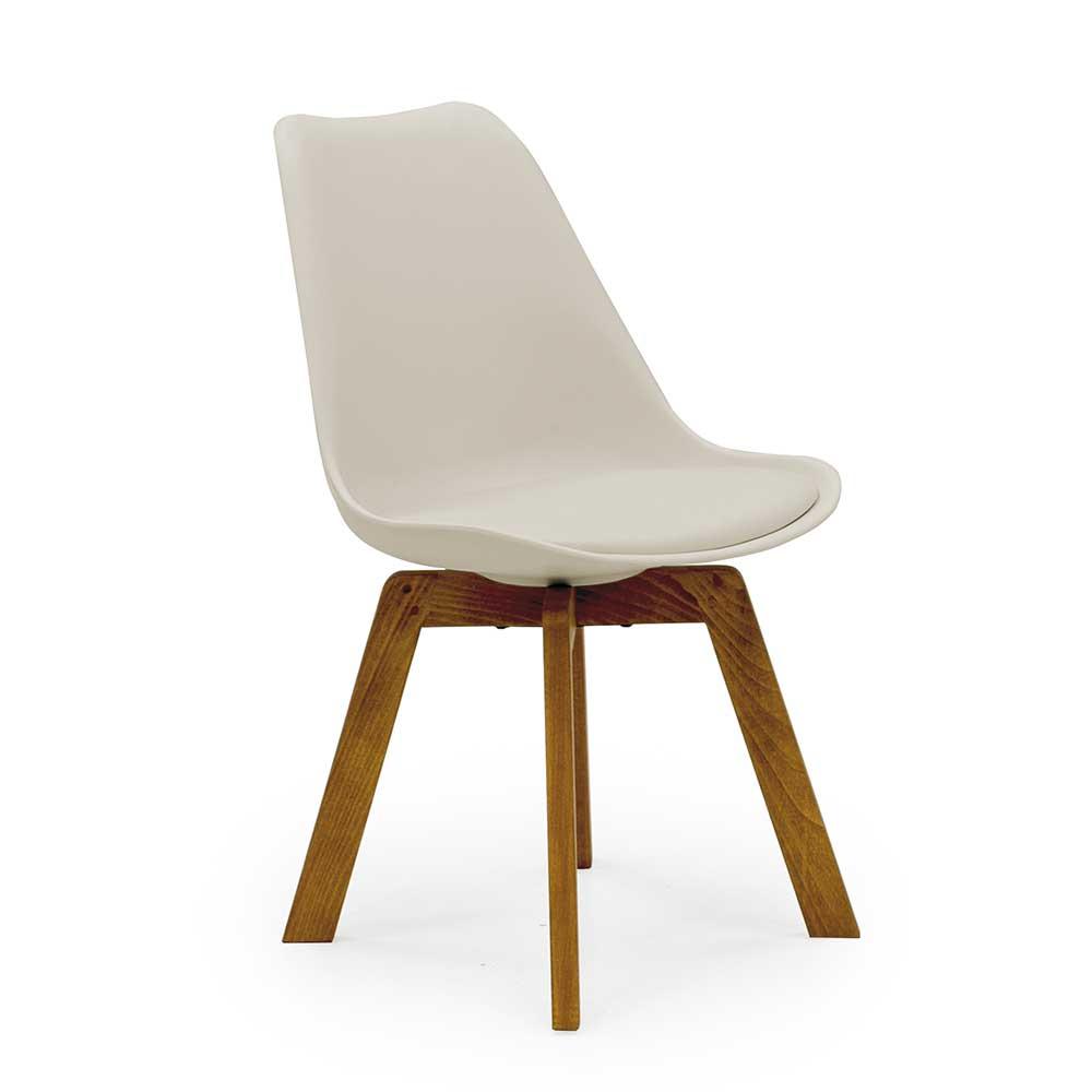 Esstisch Stühle mit Schalensitz in Hellgrau Massivholzgestell (4er Set)