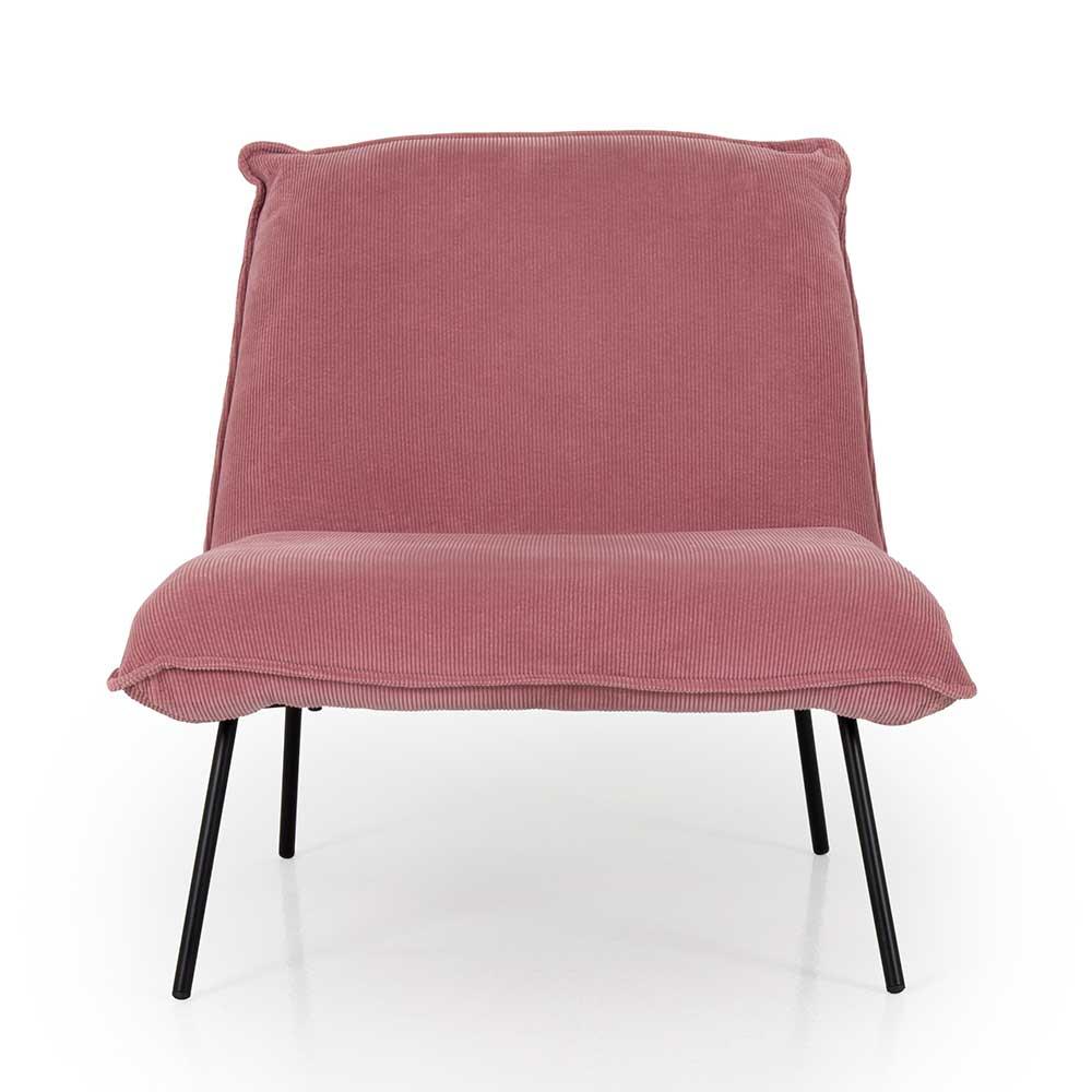 Sessel in Rosa Cord Skandi Design