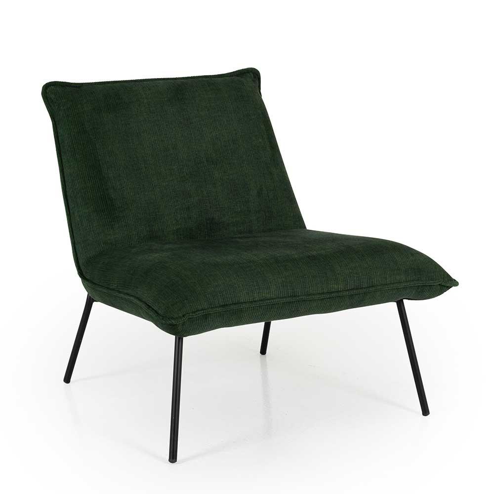 Cord Sessel in Dunkelgrün Skandi Design