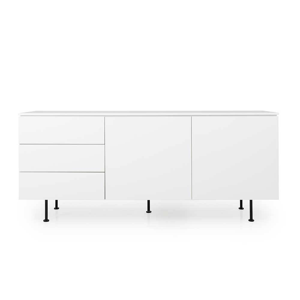 Wohnzimmer Kommode in Weiß und Walnussfarben 180 cm breit