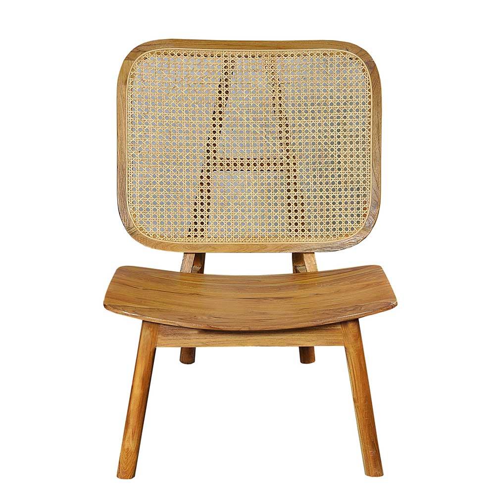 Sessel aus Rattan und Teak Massivholz 40 cm Sitzhöhe