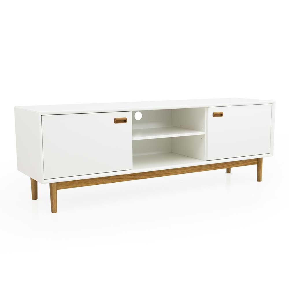 TV Lowboard in Weiß und Eiche 170 cm breit