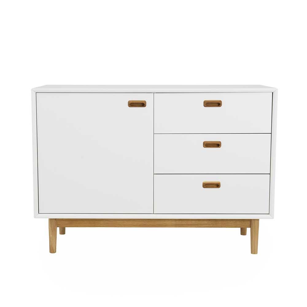 Garderobenkommode in Weiß und Eiche 80 cm hoch