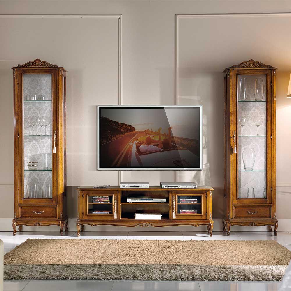 Design Wohnwand im italienischen Design Nussbaumfarben (dreiteilig)