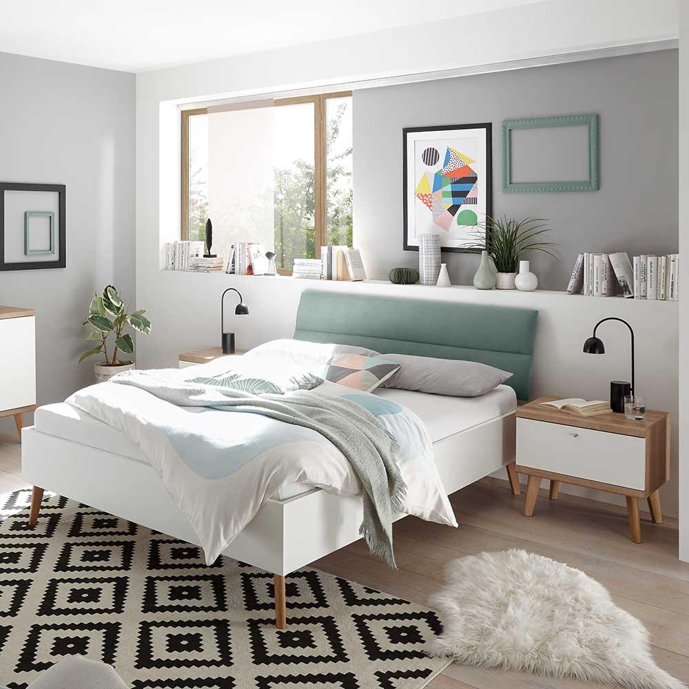 Doppelbett in Weiß und Eichefarben gepolstertem Kopfteil in Mintgrün (dreiteilig)