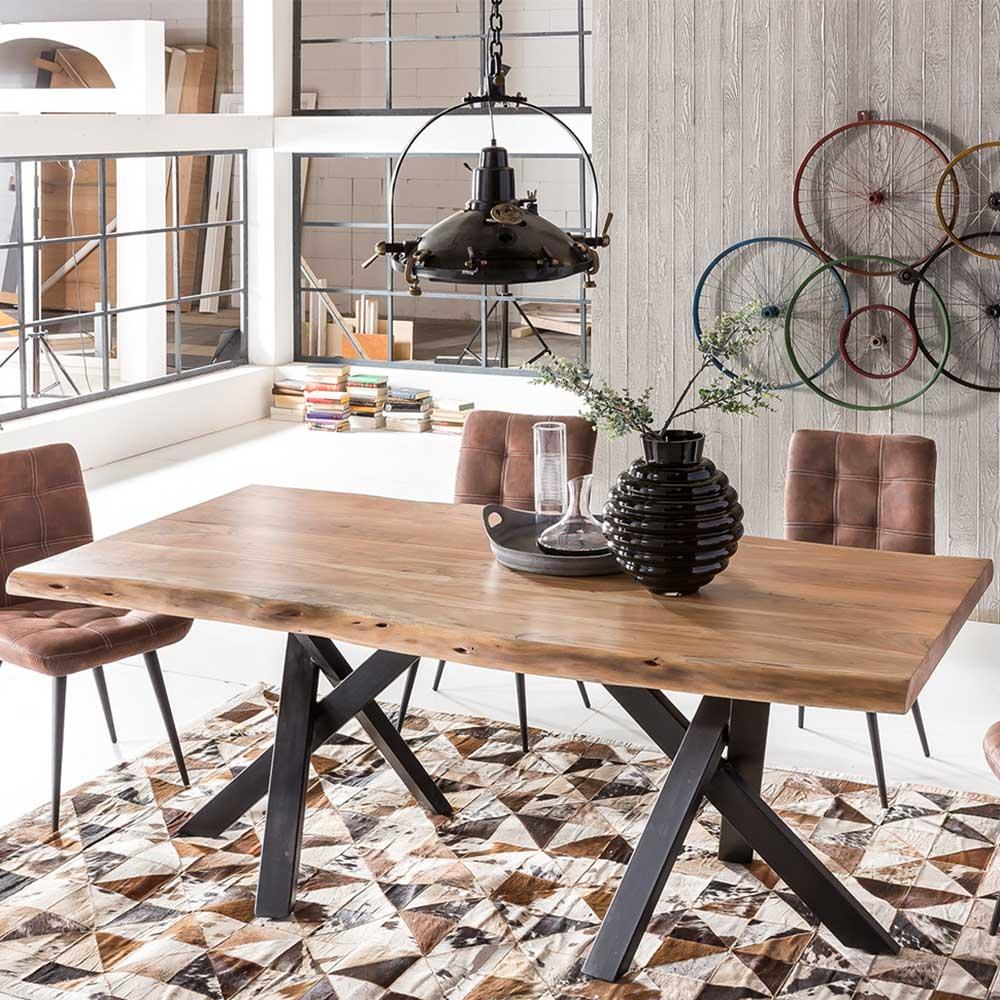 Design Esstisch aus Akazie Massivholz und Stahl Baumkante