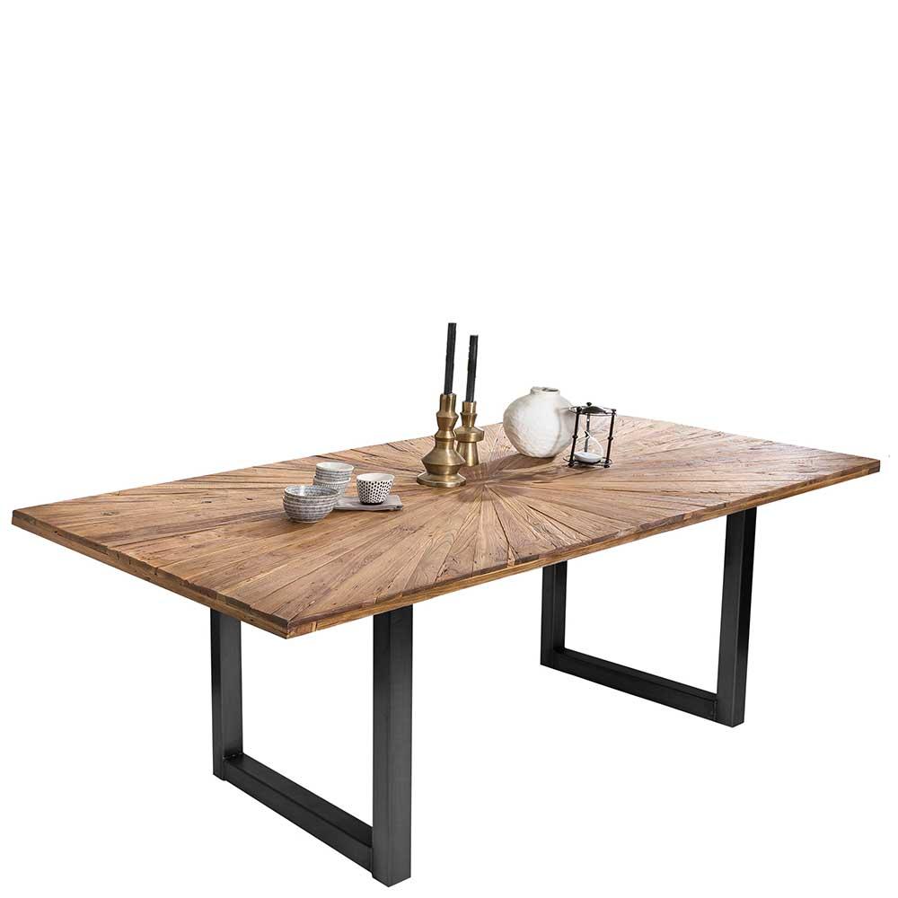 Esstisch aus Teak Recyclingholz und Stahl Industriedesign