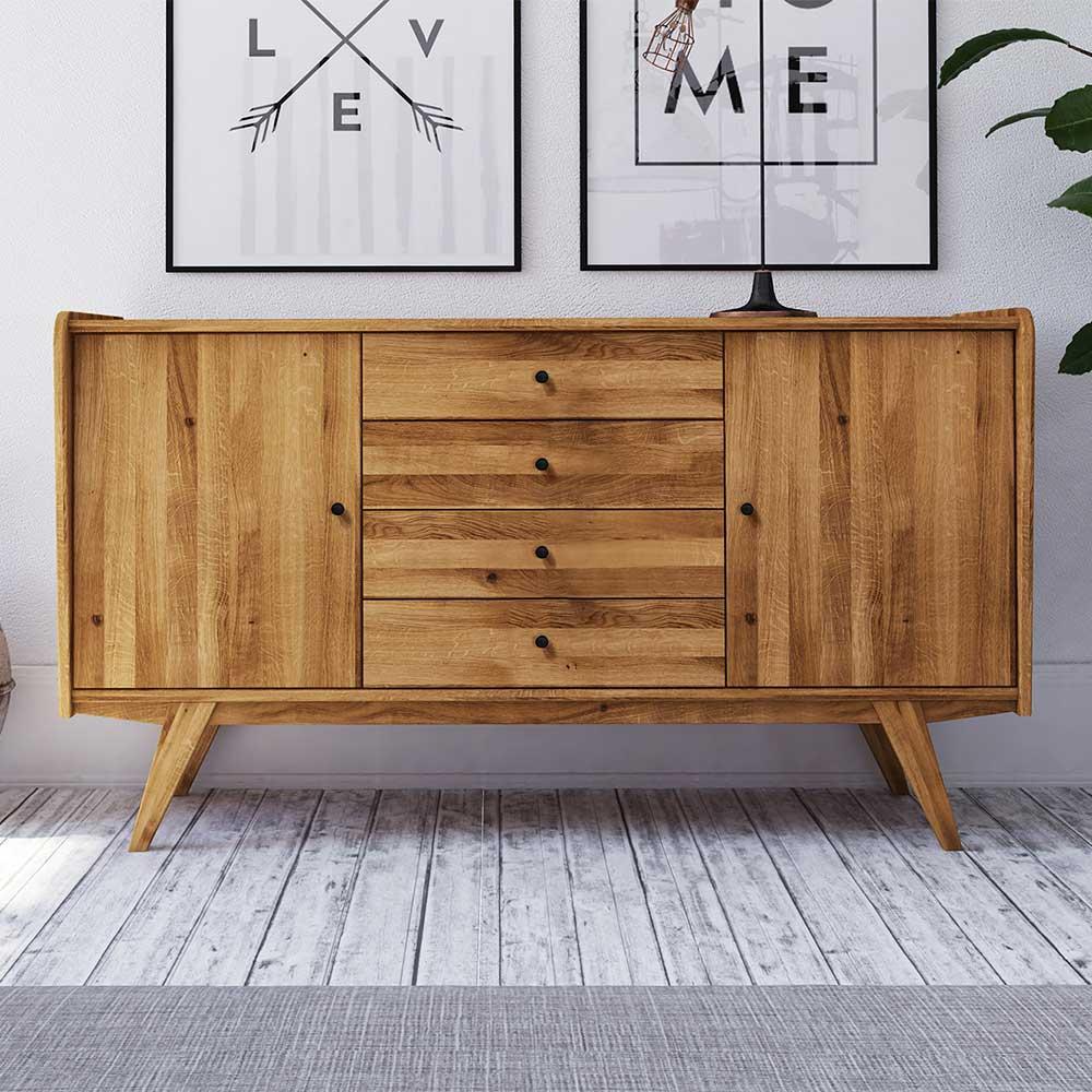Retro Sideboard aus Wildeiche Massivholz 160 cm breit