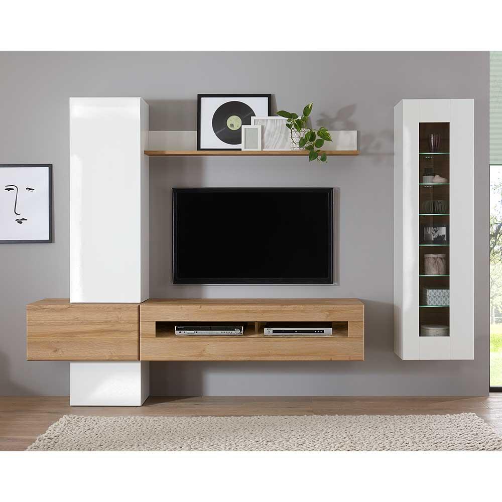 Hochglanz Wohnwand in Weiß und Wildeiche Optik 230 cm breit (sechsteilig)