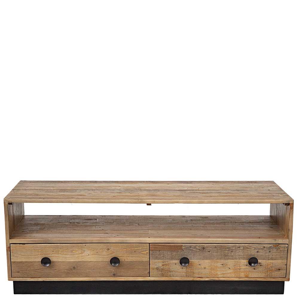 TV Lowboard aus Pinie Recyclingholz zwei Schubladen