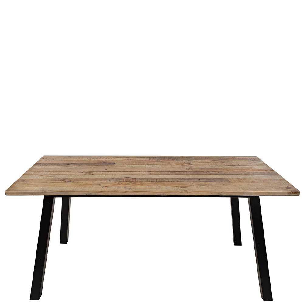 Esstisch aus Pinie Recyclingholz und Metall 170 cm breit
