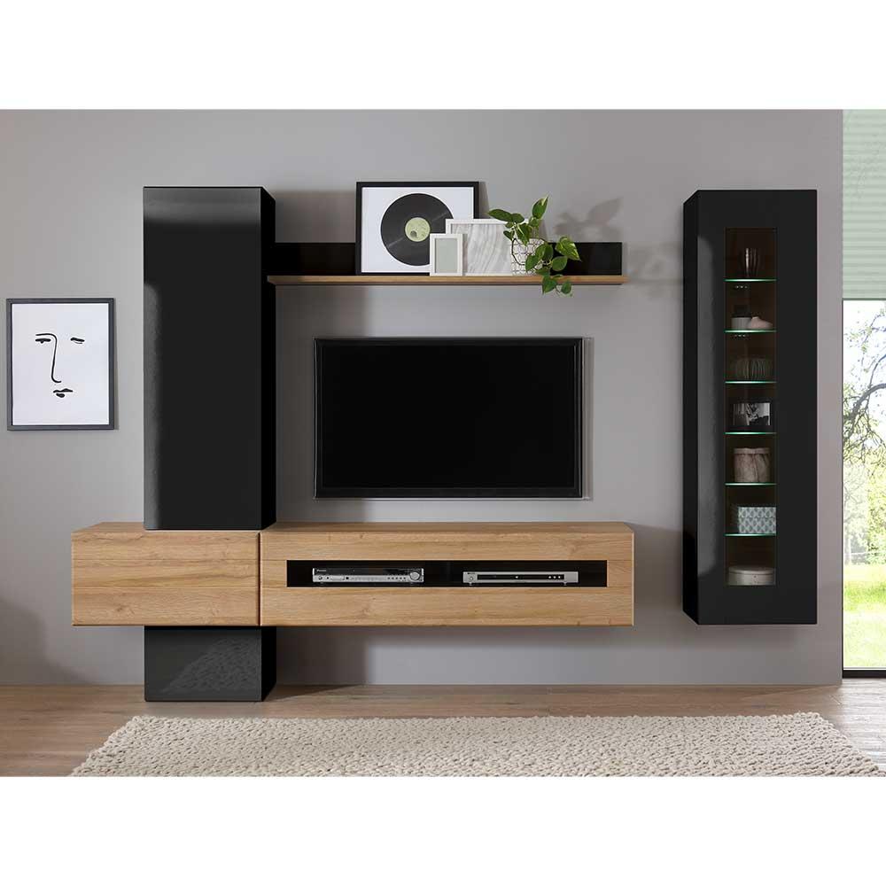 Fernseher Wohnwand in Schwarz Hochglanz und Wildeiche Optik 230 cm breit (sechsteilig)