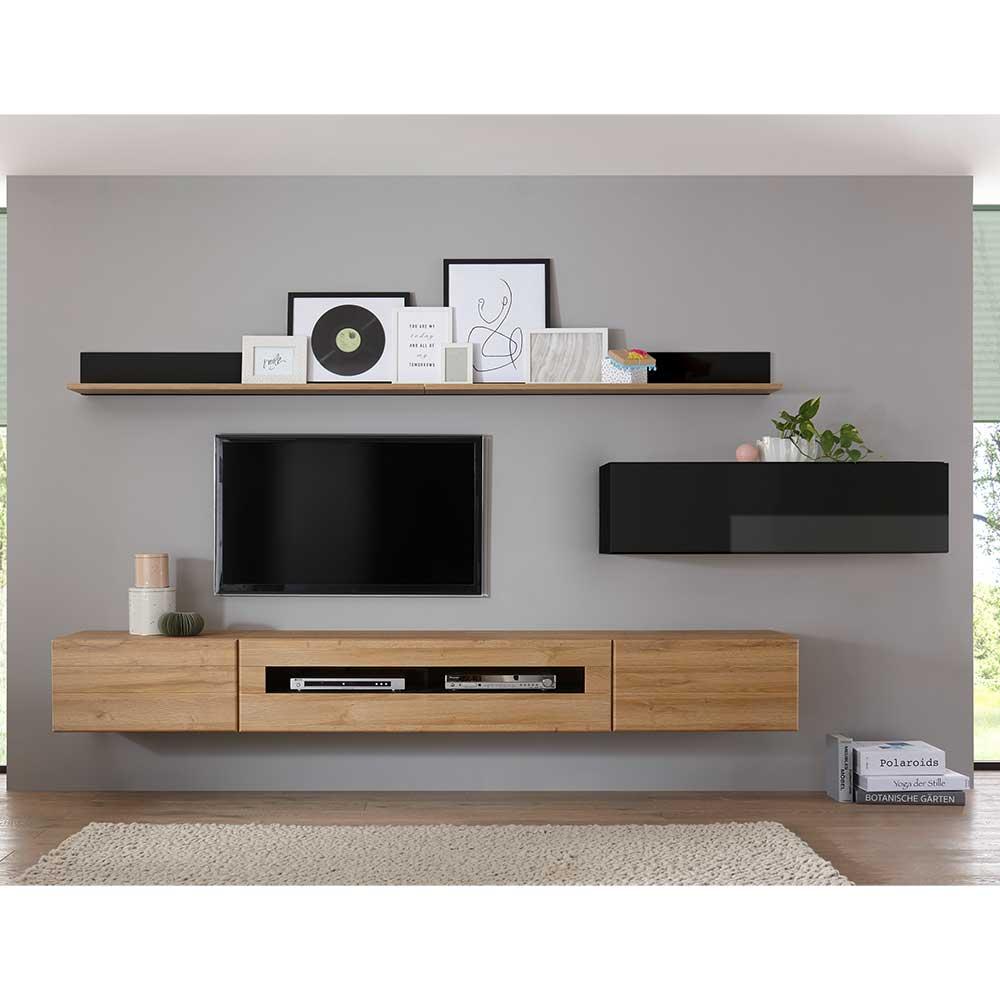 TV Wohnwand in Schwarz Hochglanz und Wildeiche Optik 280 cm breit (sechsteilig)