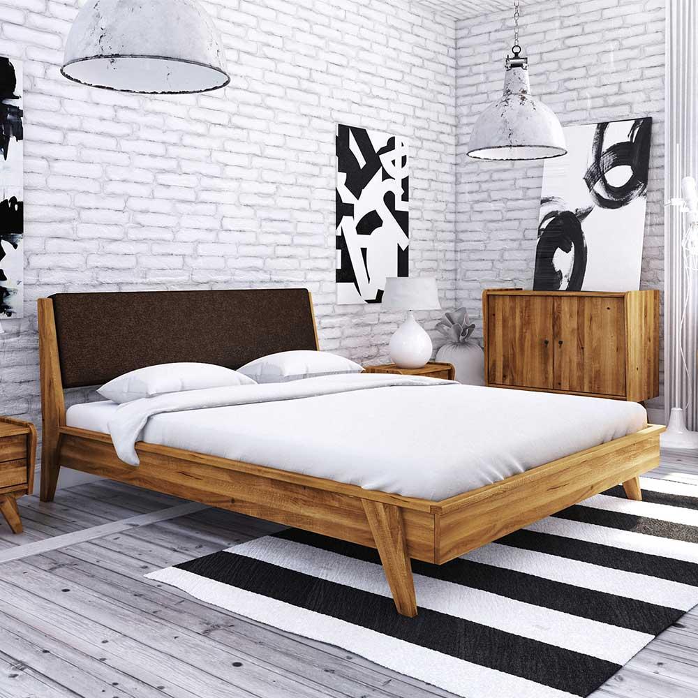 Doppelbett aus Wildeiche Massivholz Retrostil