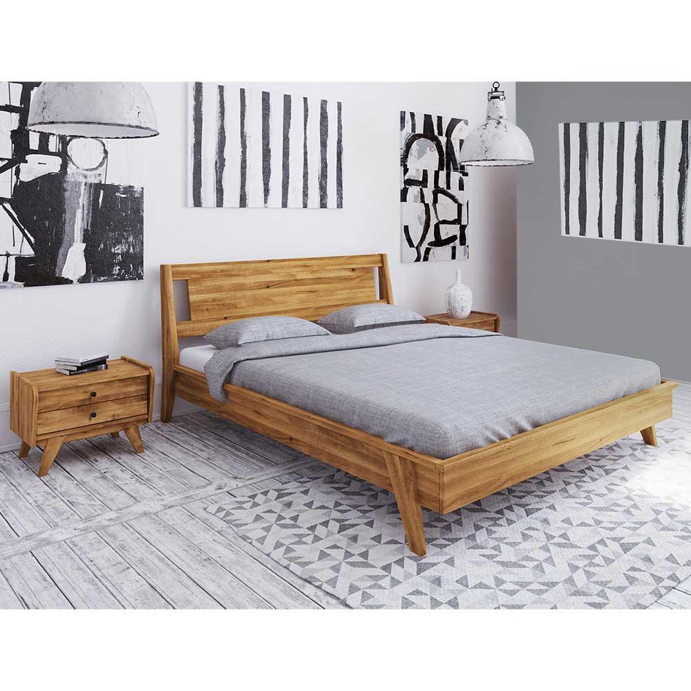 Doppelbett aus Wildeiche Massivholz zwei Nachtkommoden (dreiteilig)
