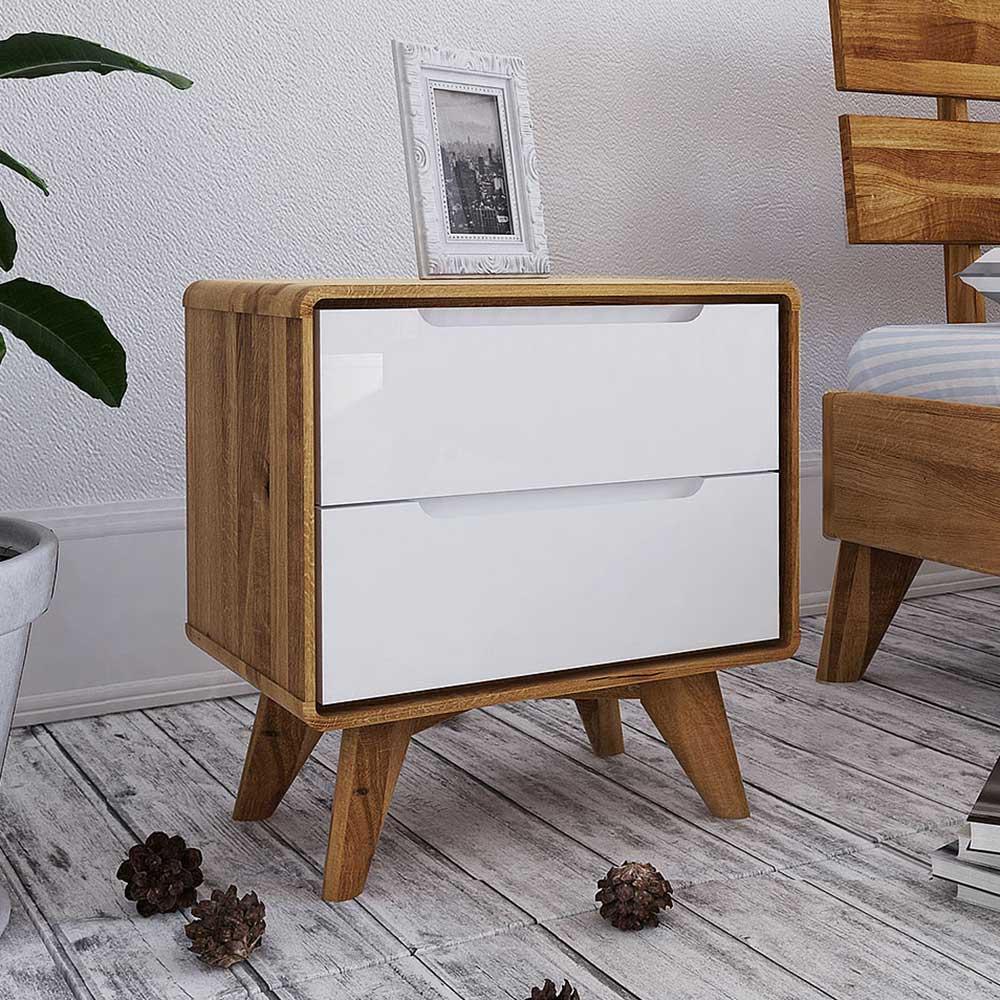 Nachttisch Kommode in Weiß und Wildeiche 30 cm tief