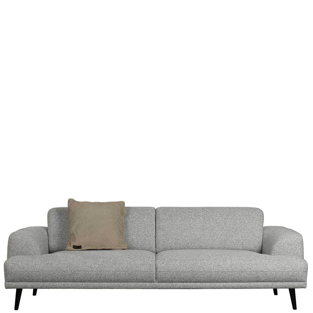 Dreisitzer Sofa in Hellgrau Webstoff modern