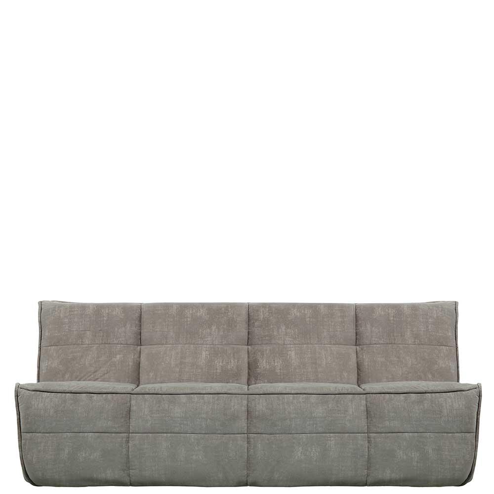 Dreisitzer Sofa in Grau Samt 210 cm breit