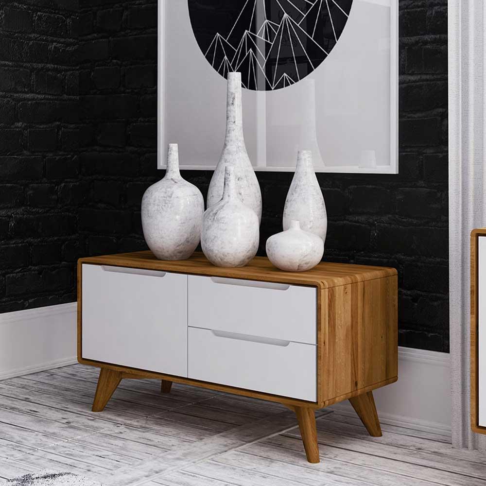 Design Kommode in Weiß und Wildeiche 90 cm breit