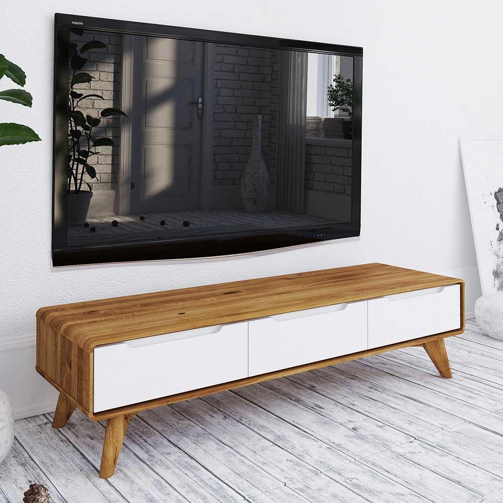 TV Lowboard in Weiß und Wildeiche drei Schubladen
