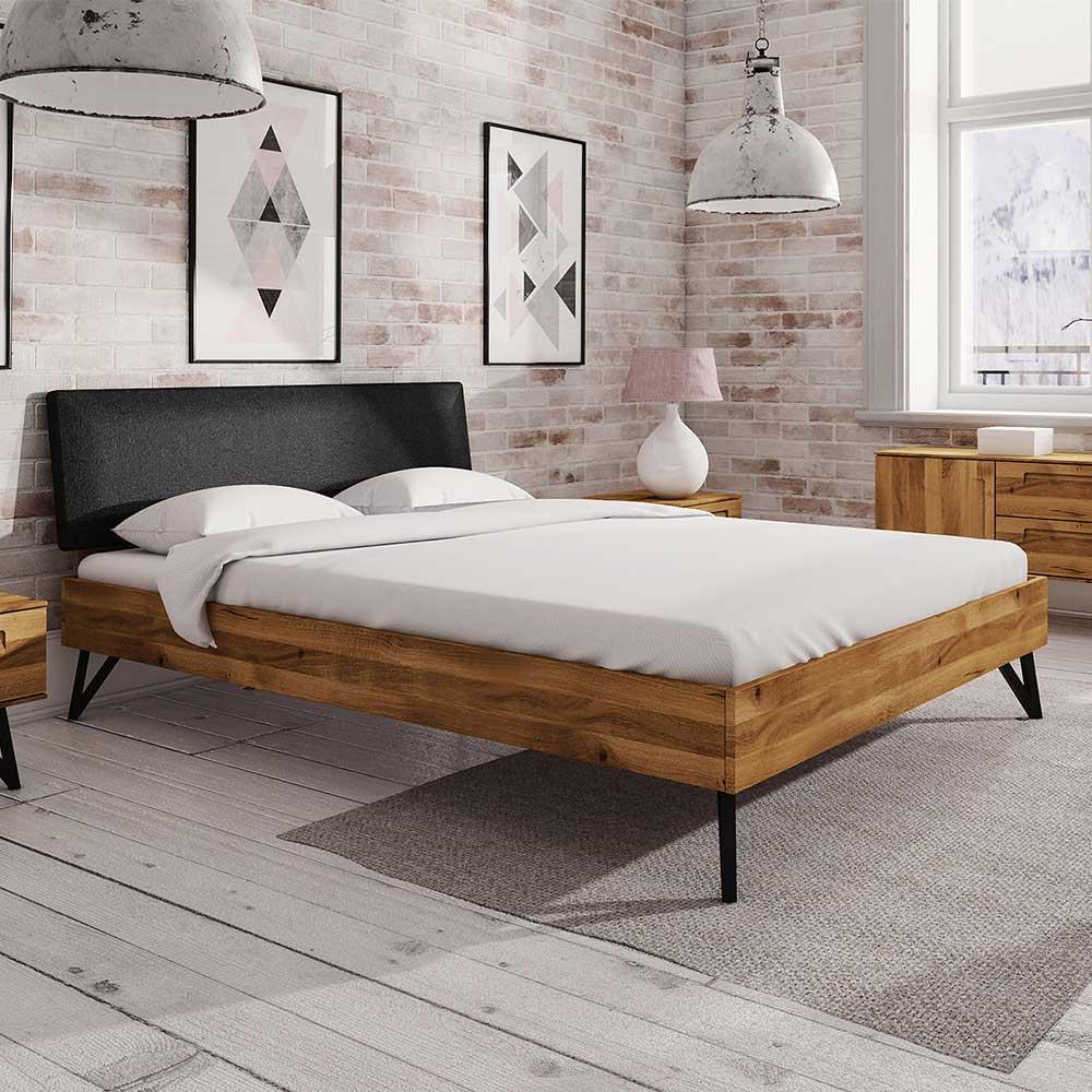 Doppelbett aus Wildeiche Massivholz und Stahl gepolstertem Kopfteil