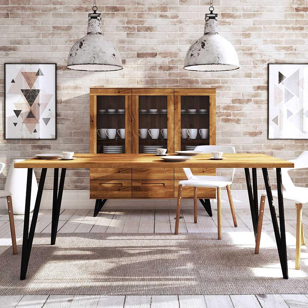 Esstisch aus Wildeiche Massivholz und Stahl Loft Design