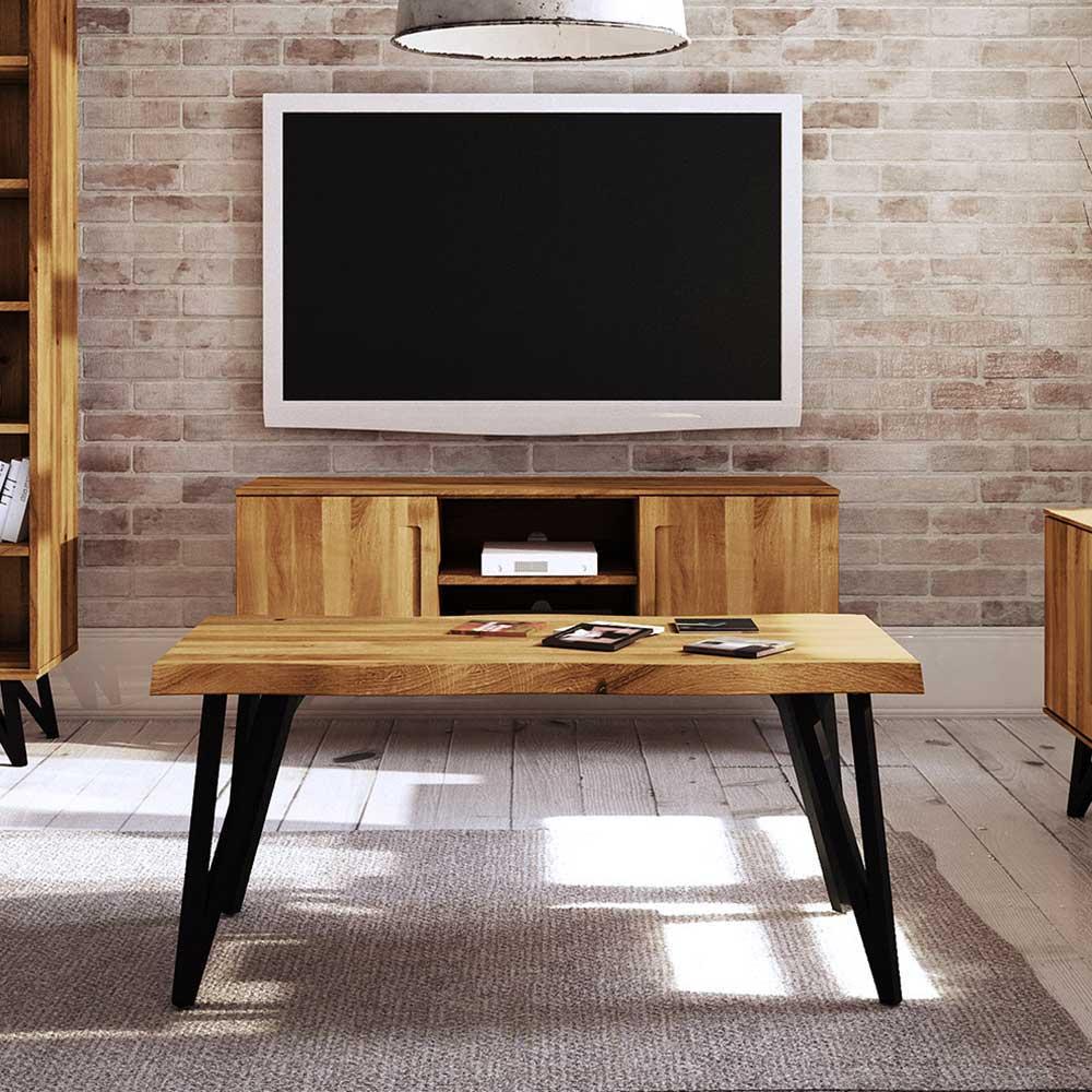 Couchtisch aus Wildeiche Massivholz und Stahl Loft Design