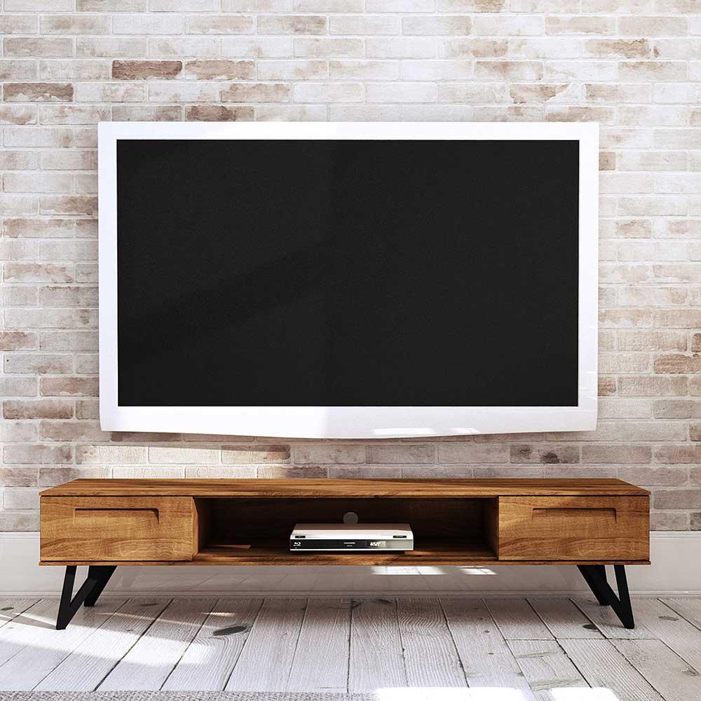 TV Kommode aus Wildeiche Massivholz und Stahl 45 cm tief