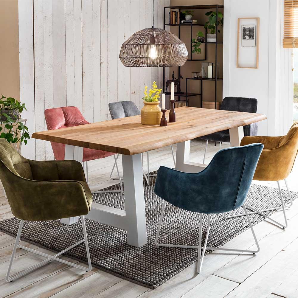 Baumkanten Esstisch aus Eiche Massivholz und Metall A-Fußgestell