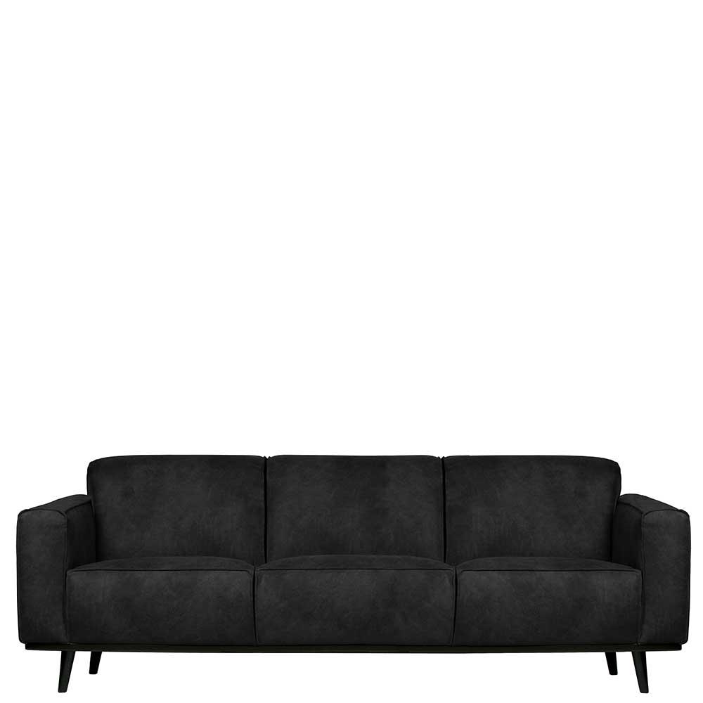 Dreisitzer Sofa in Schwarz Kunstleder 230 cm breit