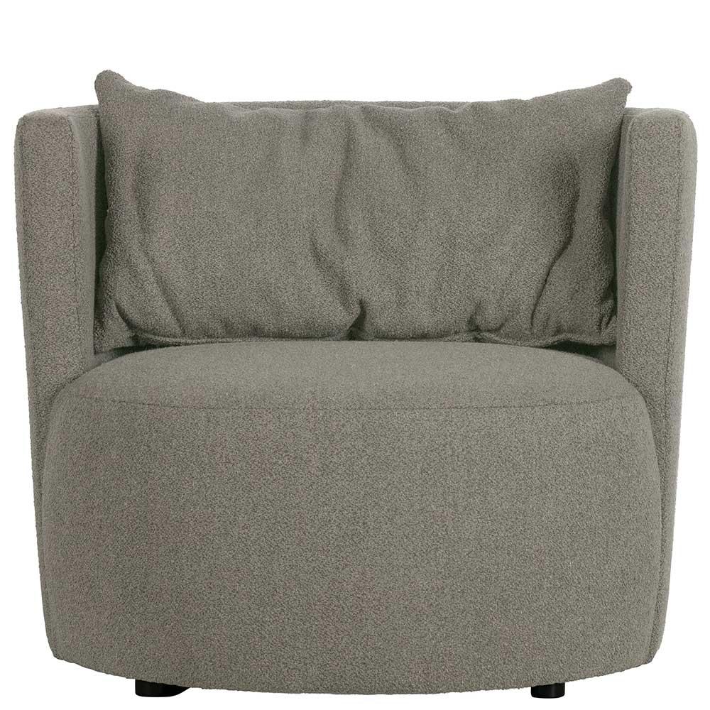 Design Sessel in Grau Stoff Armlehnen
