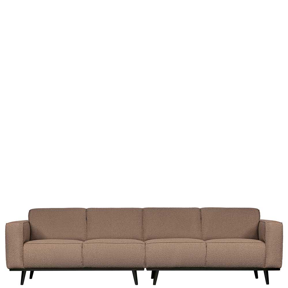 Dreisitzer Sofa in Hellbraun Stoff Federkern