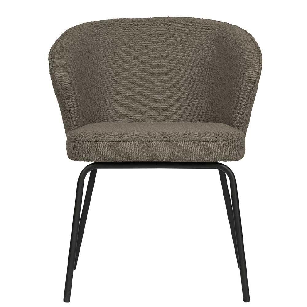 Esstisch Stühle in Hellbraun Boucle Stoff modern (2er Set)