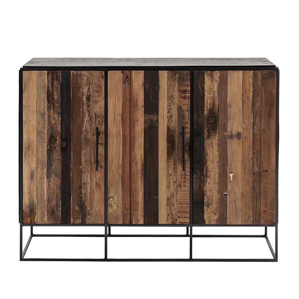 Türen Kommode aus Recyclingholz und Eisen 120 cm breit