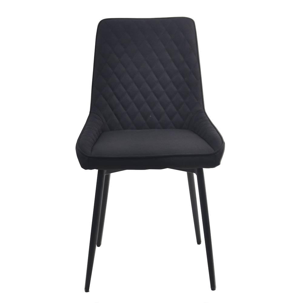 Esstisch Stühle in Schwarz Microfaser Metallgestell (2er Set)