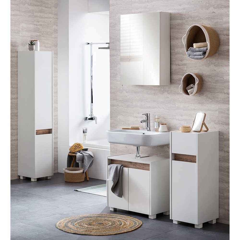 Komplett Badmöbel Set in Weiß und Wildeichefarben Skandi Design (vierteilig)