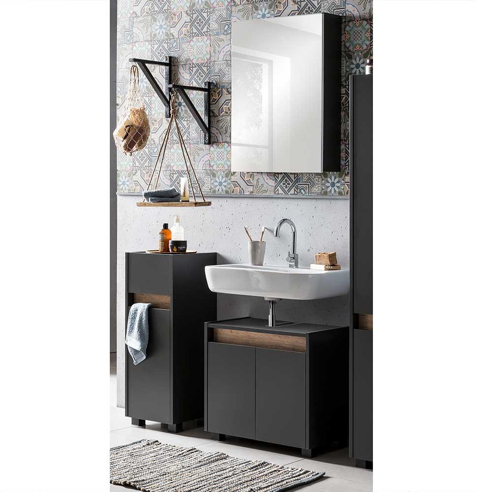 Badezimmerset in Anthrazit und Wildeiche Optik Skandi Design (dreiteilig)