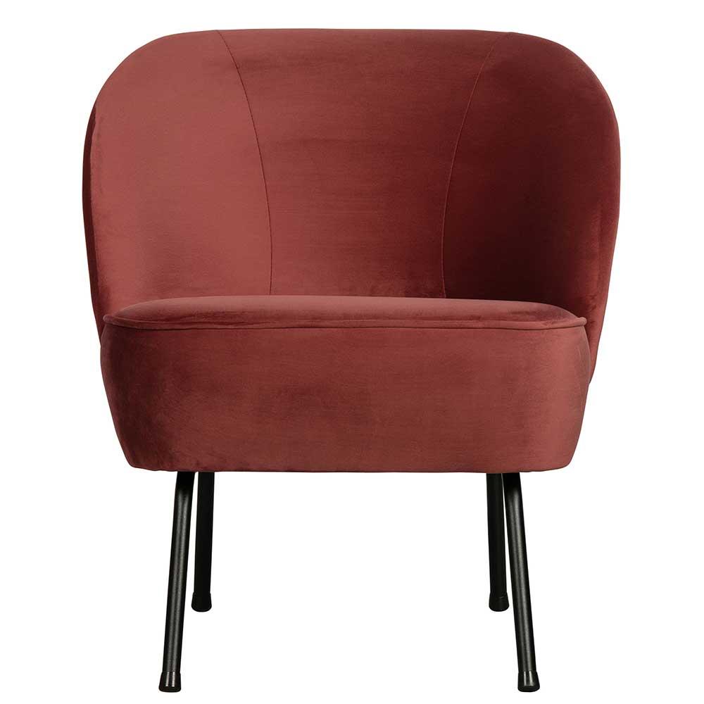 Lounge Sessel in Rotbraun Samt Retro Design