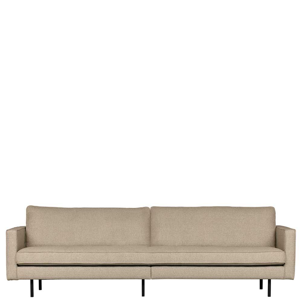 Dreisitzer Sofa in Beigegrau Webstoff Retro Style
