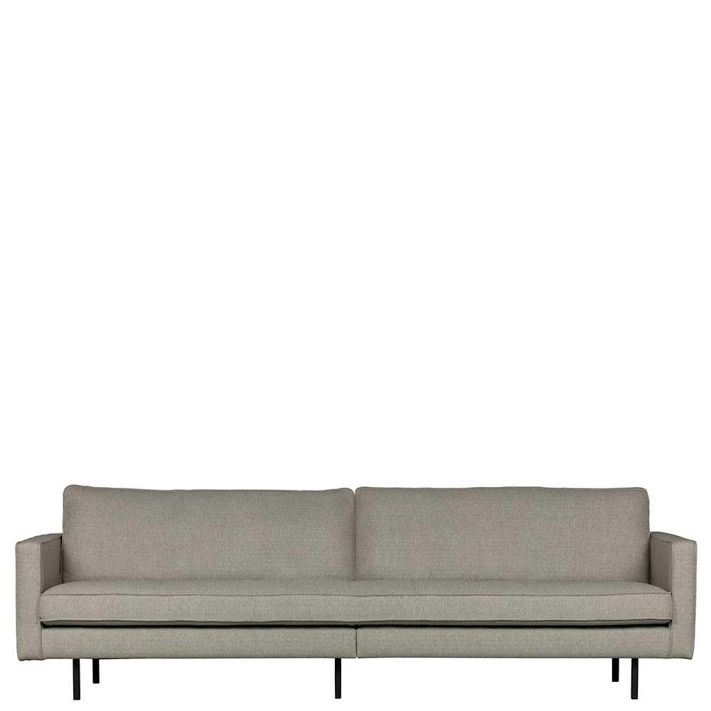 Dreisitzer Sofa in Hellbraun Webstoff Retro Design