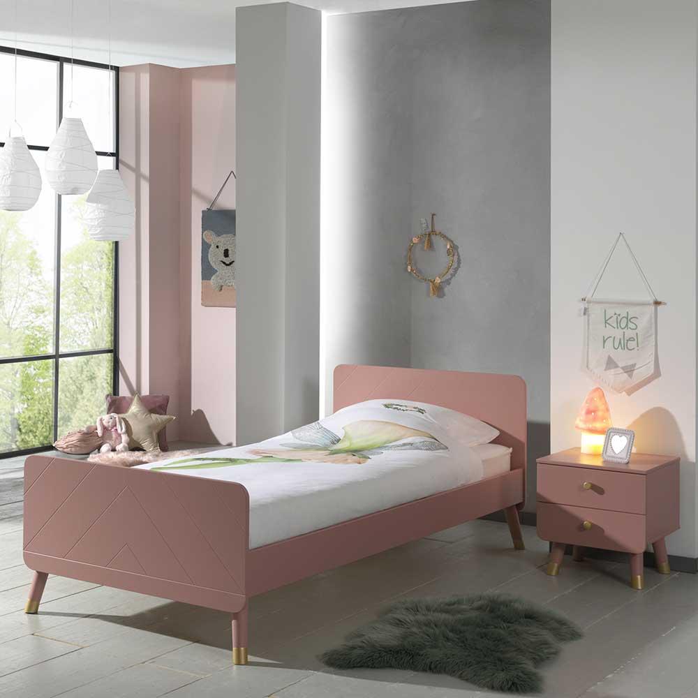 Mädchen Jugendbett in Rosa und Goldfarben Nachttisch (zweiteilig)