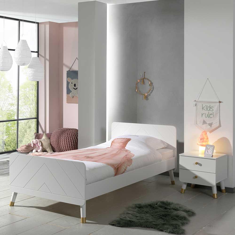 Kinder Jugendbett in Weiß und Goldfarben Nachtkonsole (zweiteilig)