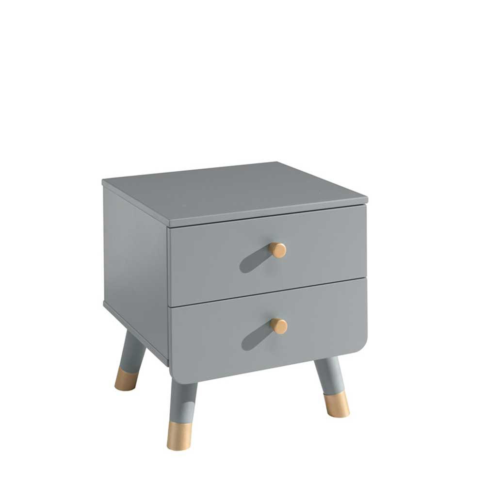 Nachttisch Kommode in Grau und Goldfarben zwei Schubladen