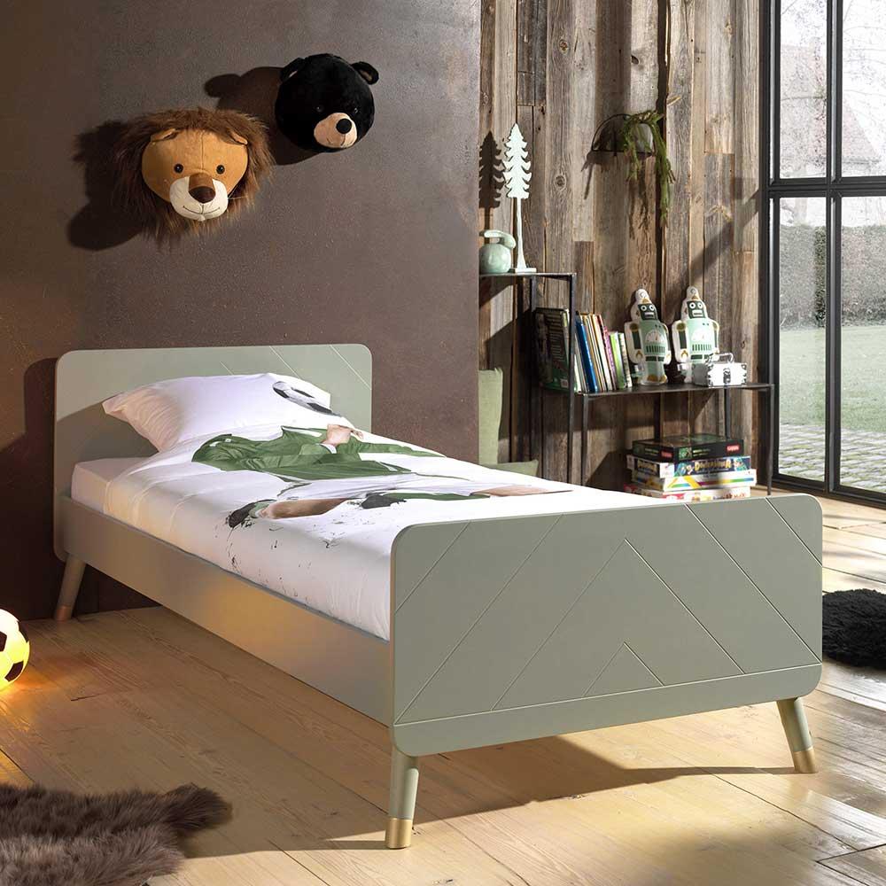 Jugendbett in Graugrün und Goldfarben 90x200 cm